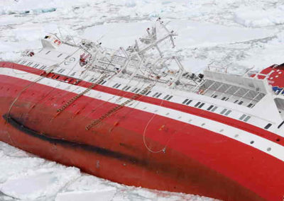 In this photo provided by the Chile's Navy, the Liberian-flagged Explorer cruise ship is seen sinking after it hit an object in Antarctic waters, Friday, Nov. 23, 2007, some 880 kilometers southeast of Ushuaia, the southernmost Argentine city. More than 150 passengers and crew took to lifeboats after the ship hit an object and began taking on water through a hole in the hull, naval and coast guard officials said. No injuries were reported. (AP Photo/Chile's Navy)